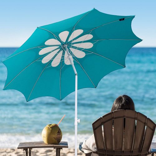 7. AMMSUN Hollow Pattern Beach Umbrella
