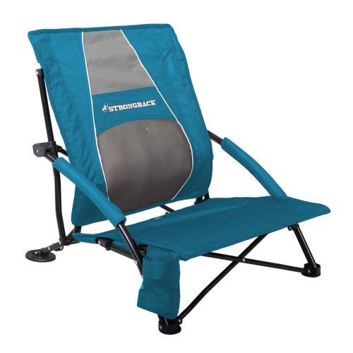 10. STRONGBACK Low Gravity Beach Chair with Lumbar Support