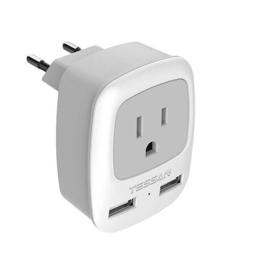 10. TESSAN European Travel Plug Adapter