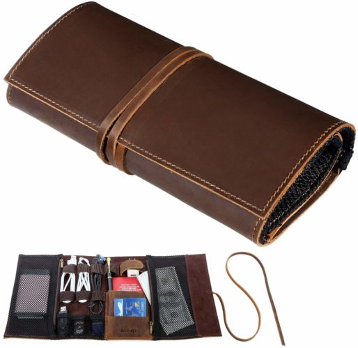 10. Genuine Crazy Horse Leather Electronics Organizer